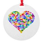 Rainbow Heart of Hearts Round Ornament
