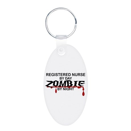 Registered Nurse Zombie Aluminum Oval Keychain