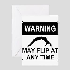 Warning may flip Greeting Card