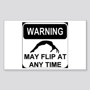 Warning may flip Sticker (Rectangle)