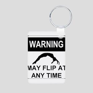 Warning may flip Aluminum Photo Keychain