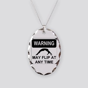 Warning may flip Necklace Oval Charm