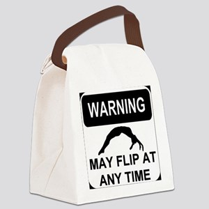 Warning may flip Canvas Lunch Bag