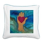 Heart in Hand Square Canvas Pillow