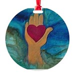 Heart in Hand Round Ornament