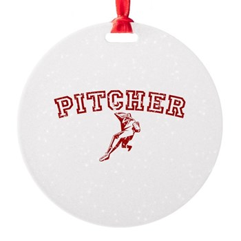 Pitcher - Red Round Ornament