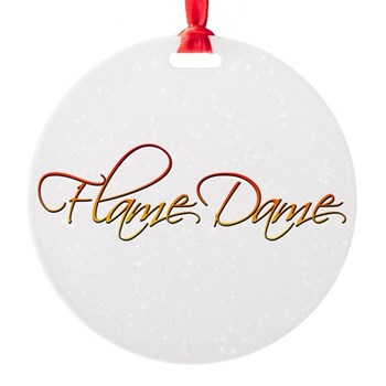 Flame Dame Round Ornament