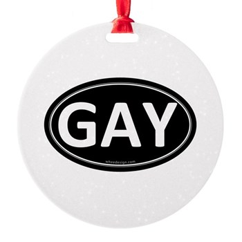 GAY Black Euro Oval Round Ornament
