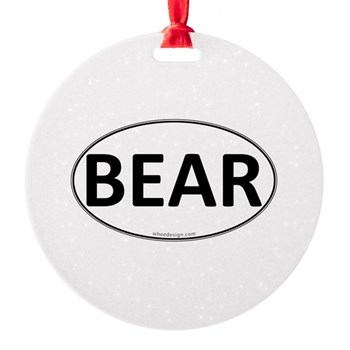 BEAR Euro Oval Round Ornament