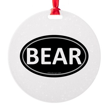 BEAR Black Euro Oval Round Ornament