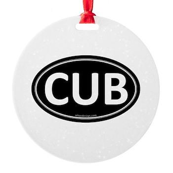 CUB Black Euro Oval Round Ornament