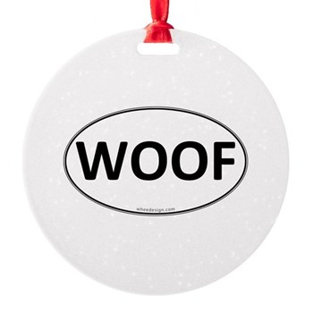 WOOF Euro Oval Round Ornament