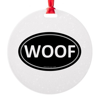 WOOF Black Euro Oval Round Ornament