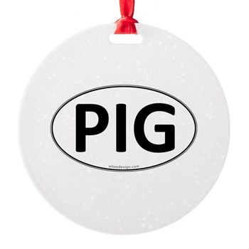 PIG Euro Oval Round Ornament