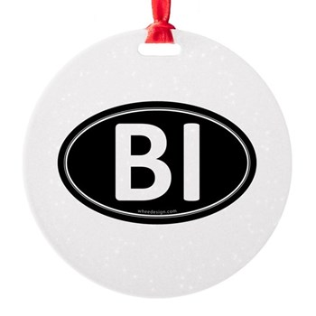 BI Black Euro Oval Round Ornament