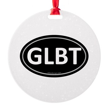 GLBT Black Euro Oval Round Ornament