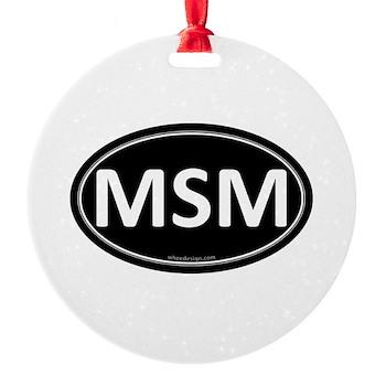MSM Black Euro Oval Round Ornament
