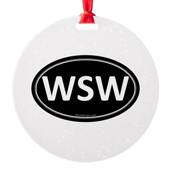 WSW Black Euro Oval Round Ornament