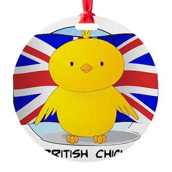 British Chick Round Ornament