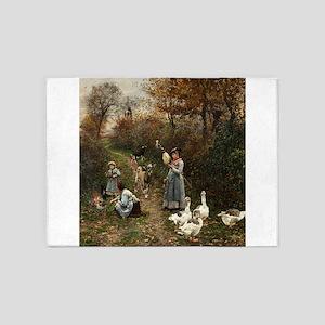 Vintage Painting of Ladies and Geese 5'x7'Area Rug