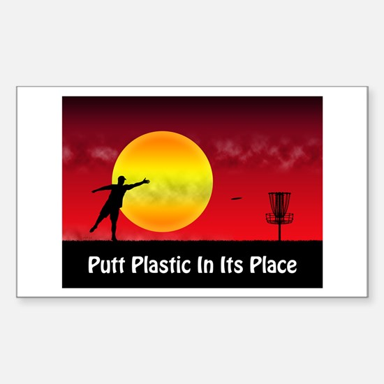 Putt Plastic In Its Place Sticker (Rectangle)