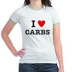 I Love Carbs Funny Diet Jr. Ringer T-Shirt