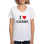 I Love Carbs Funny Diet Women's V-Neck T-Shirt