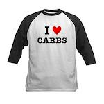 I Love Carbs Funny Diet Kids Baseball Jersey