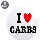 """I Love Carbs Funny Diet 3.5"""" Button (10 pack)"""