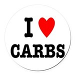 I Love Carbs Funny Diet Round Car Magnet