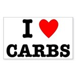 I Love Carbs Funny Diet Sticker (Rectangle)