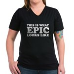 Epic Looks Like Women's V-Neck Dark T-Shirt