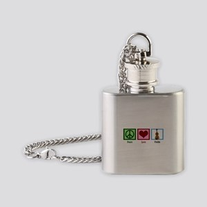 Peace Love Violin Flask Necklace