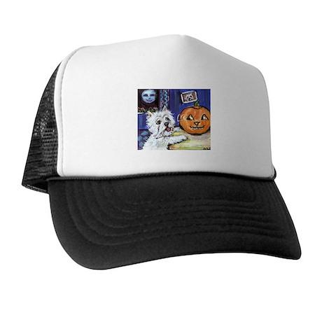 Westie investigates glowing p Trucker Hat