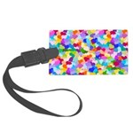 Rainbow Confetti Hearts Large Luggage Tag