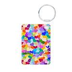 Rainbow Confetti Hearts Aluminum Photo Keychain