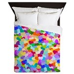 Rainbow Confetti Hearts Queen Duvet