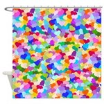 Rainbow Confetti Hearts Shower Curtain