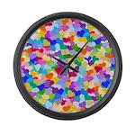 Rainbow Confetti Hearts Large Wall Clock