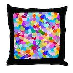 Rainbow Confetti Hearts Throw Pillow