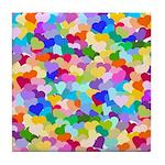 Rainbow Confetti Hearts Tile Coaster