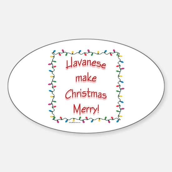 Merry Havanese Oval Decal