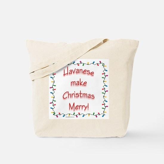 Merry Havanese Tote Bag