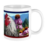 Rooster + Echinacea Flowers Landscape Mug
