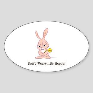 Be Hoppy Bunny Oval Sticker