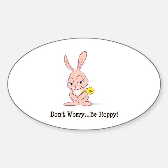 Be Hoppy Bunny Oval Decal