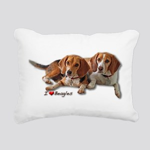 Two Beagles Rectangular Canvas Pillow