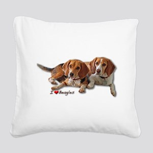 Two Beagles Square Canvas Pillow