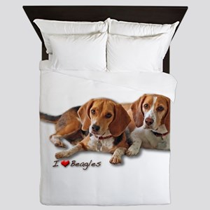 Two Beagles Queen Duvet