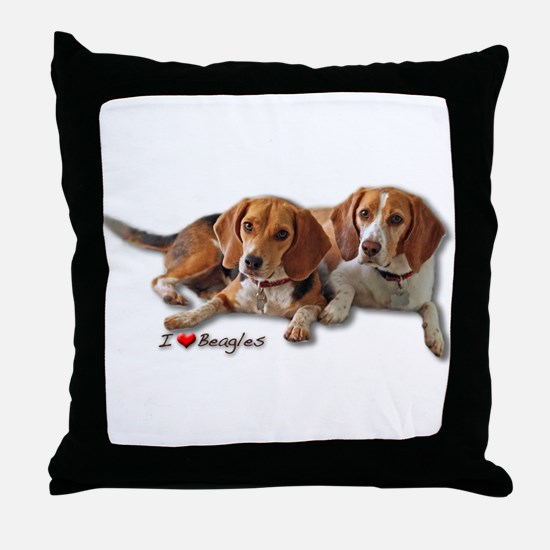 Two Beagles Throw Pillow